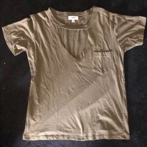 Tops - Olive Green Pocket T Shirt with Cut Out V Collar